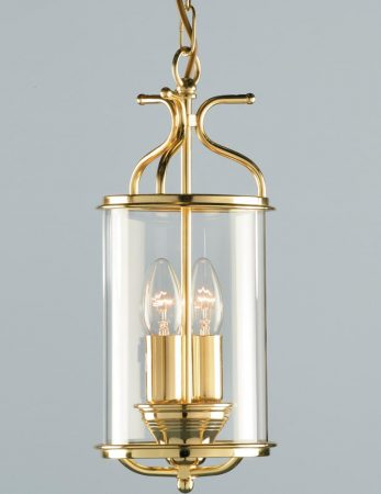 Impex Winchester 2 Light Cylinder Glass Hanging Lantern Polished Brass