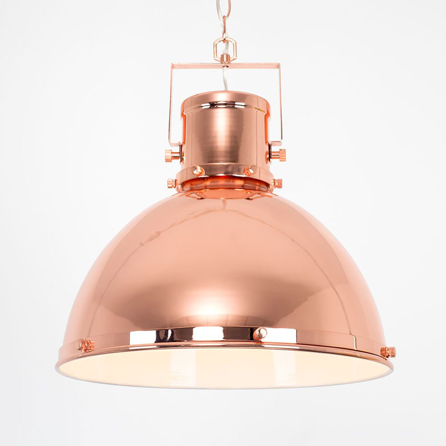 Dorian Industrial Style Domed Pendant Ceiling Light Polished Copper