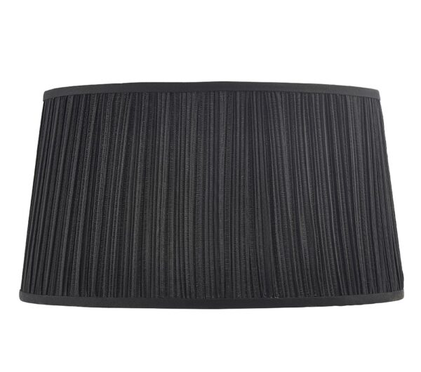 Kemp Pleated Faux Silk 17 Inch Black Oval Table Lamp Shade