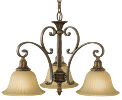 Feiss Kelham Hall British Bronze 3 Light Downlight Chandelier Scavo Glass Shades