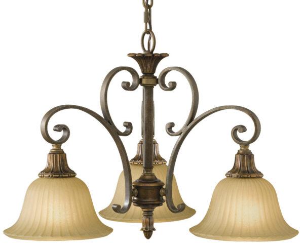 Feiss Kelham Hall British Bronze 3 Light Downlight Chandelier Scavo Glass Shades