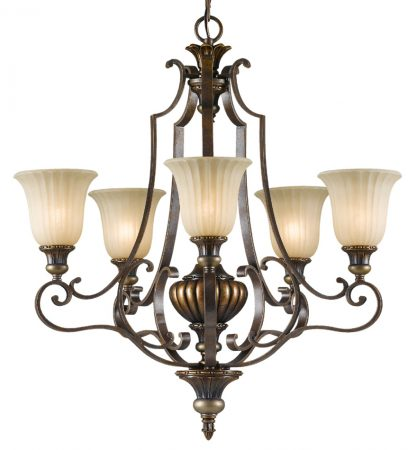 Feiss Kelham Hall British Bronze 5 Light Upward Chandelier Scavo Glass Shades