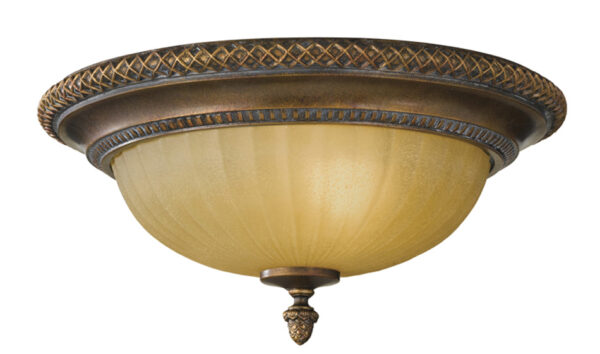 Feiss Kelham Hall British Bronze 2 Light Flush Ceiling Light Scavo Glass