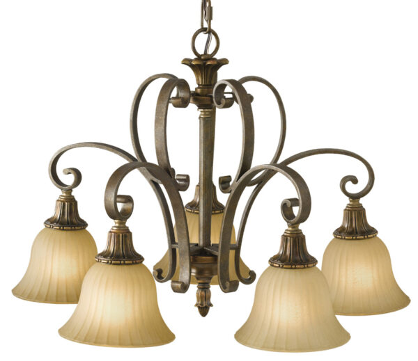 Feiss Kelham Hall British Bronze 5 Light Downlight Chandelier Scavo Glass Shades