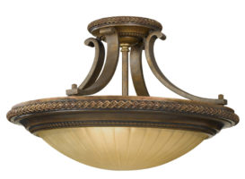 Feiss Kelham Hall British Bronze 2 Light Semi Flush Ceiling Light Scavo Glass