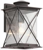 Kichler Argyle Medium Outdoor Wall Lantern Weathered Zinc Seeded Glass