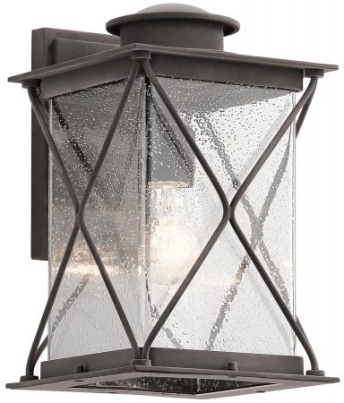 Kichler Argyle Medium Outdoor Wall Lantern Weathered Zinc Seeded Glass
