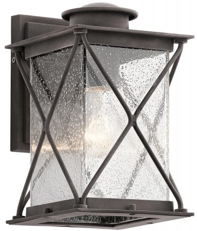 Kichler Argyle Small Outdoor Wall Lantern Weathered Zinc Seeded Glass