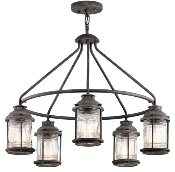 Kichler Ashland Bay 5 Light Outdoor Porch Chandelier Weathered Zinc