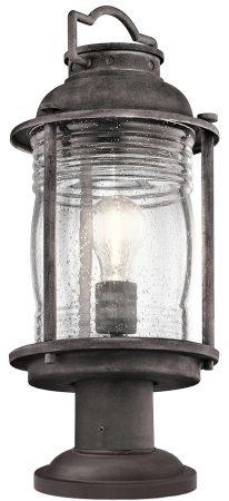 Kichler Ashland Bay 1 Light Outdoor Gate Post Lantern Weathered Zinc