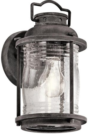 Kichler Ashland Bay 1 Light Small Outdoor Wall Lantern Weathered Zinc