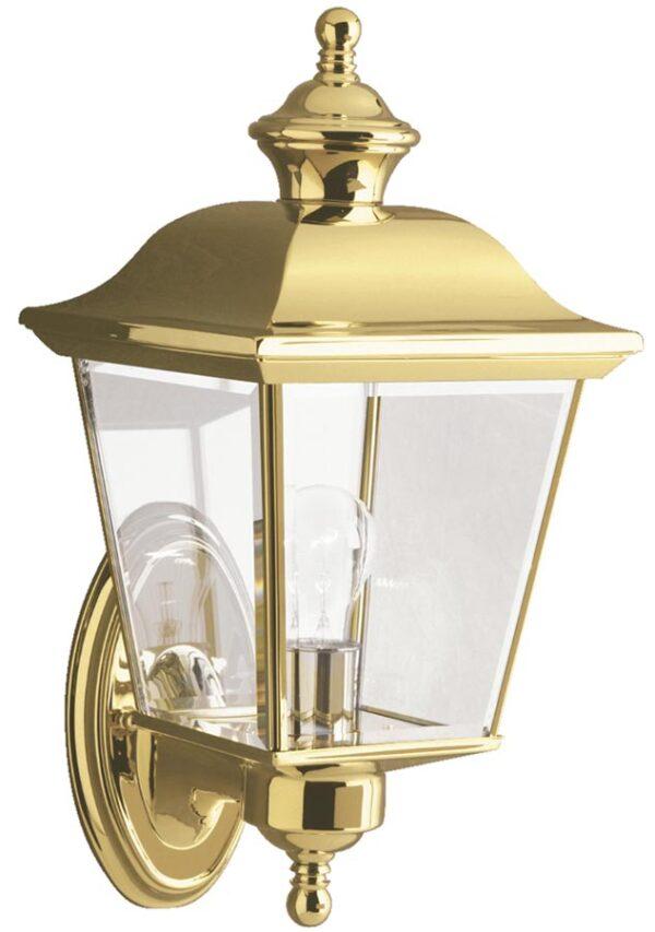 Kichler Bay Shore Medium Outdoor Wall Lantern Solid Polished Brass