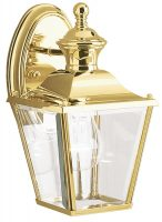 Kichler Bay Shore Small Outdoor Wall Lantern Solid Polished Brass