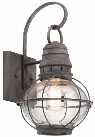 Kichler Bridge Point 1 Light Medium Outdoor Wall Lantern Weathered Zinc
