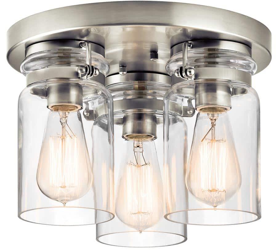 Kichler Brinley 3 Light Flush Mount Ceiling Light Brushed Nickel Clear Glass
