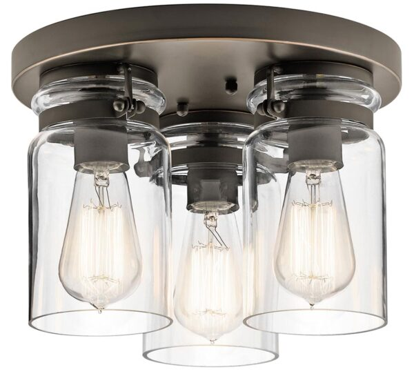 Kichler Brinley 3 Light Flush Mount Ceiling Light Olde Bronze Clear Glass