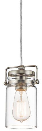 Kichler Brinley 1 Light Mini Pendant Brushed Nickel Clear Glass Jar Shade