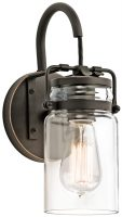 Kichler Brinley Single Wall Light Olde Bronze Clear Glass Jar Shade