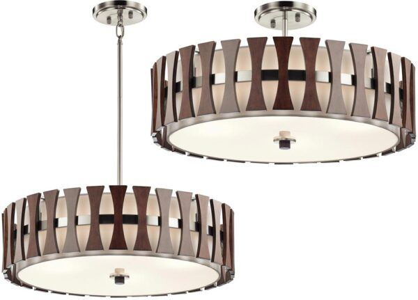 Kichler Cirus 4 Light Pendant / Semi Flush Wood White Fabric Shade