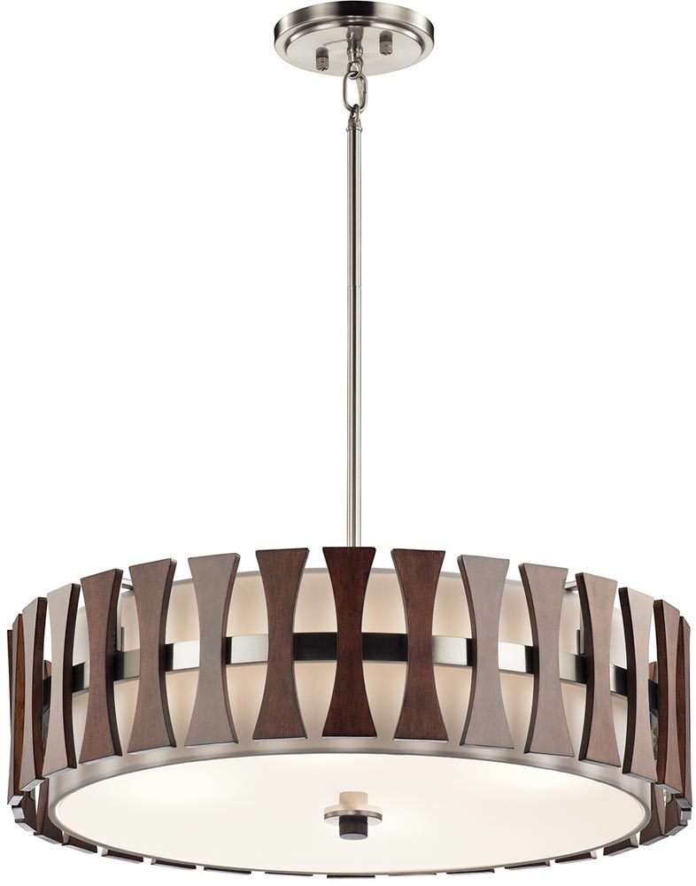 kichler cirus 4 light pendant semi flush wood white fabric shade