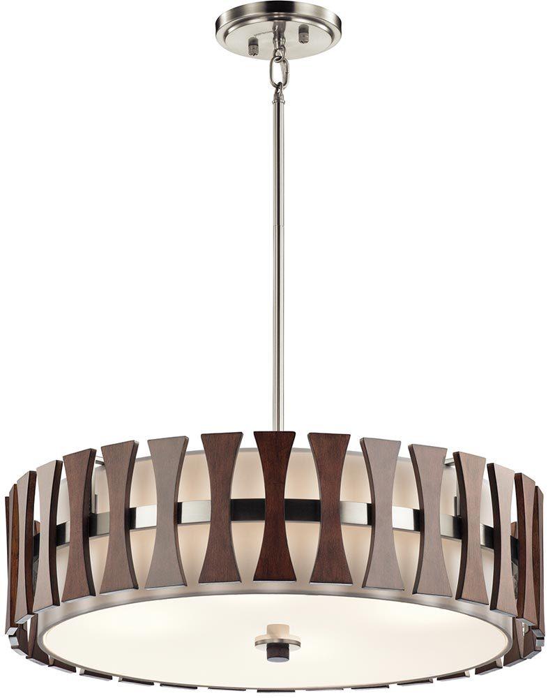 Kichler Cirus 5 Light Pendant Semi Flush Wood White