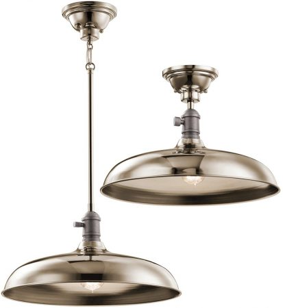 Kichler Cobson Industrial 1 Light Pendant / Semi Flush Polished Nickel