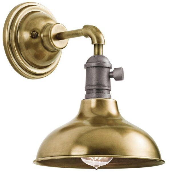 Kichler Cobson Retro Industrial 1 Light Mini Wall Light Natural Brass