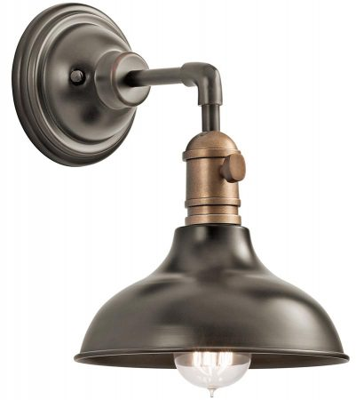 Kichler Cobson Retro Industrial 1 Light Mini Wall Light Olde Bronze