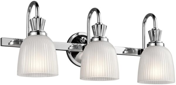 Kichler Cora Chrome 3 Light Bathroom Wall Light Ribbed Opal Glass IP44