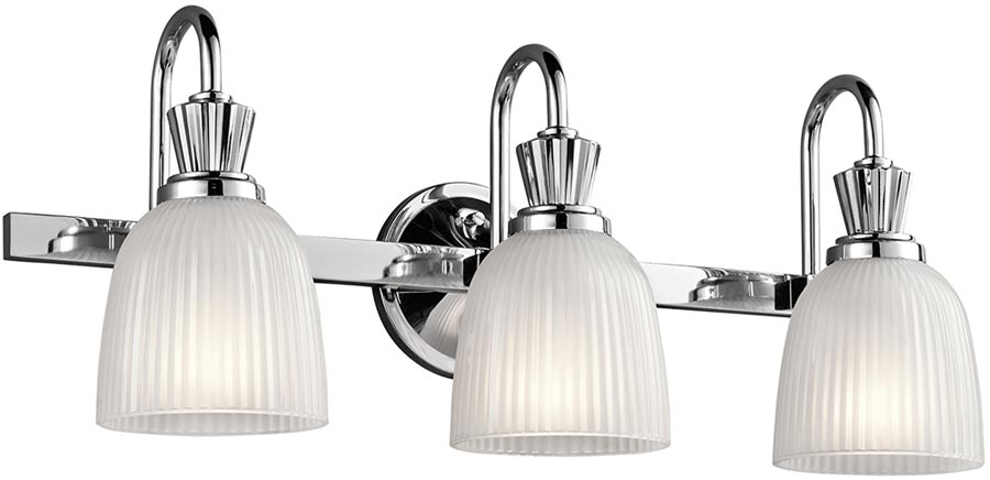 Cora Chrome 3 Light Bathroom Wall Light Ribbed Opal Glass IP44