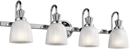 Kichler Cora Chrome 4 Light Bathroom Wall Light Ribbed Opal Glass IP44