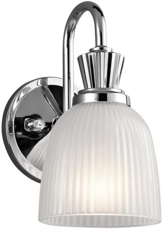 Kichler Cora Chrome 1 Light Bathroom Wall Light Ribbed Opal Glass IP44