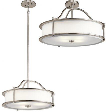 Kichler Emory Small 3 Light Ceiling Pendant / Semi Flush Mount Pewter