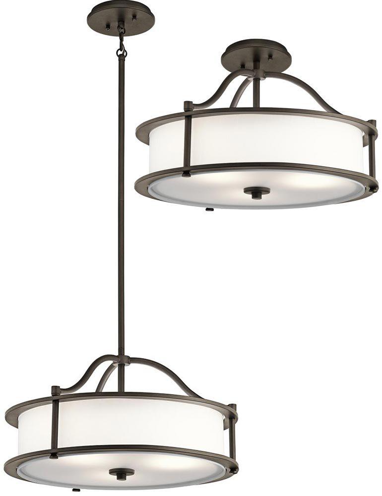 Kichler emory small 3 light ceiling pendant semi flush for Small flush mount lights