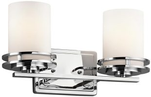 Kichler Hendrik Polished Chrome 2 Light Bathroom Wall Light Opal Glass IP44