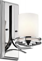 Kichler Hendrik Polished Chrome 1 Light Bathroom Wall Light Opal Glass IP44