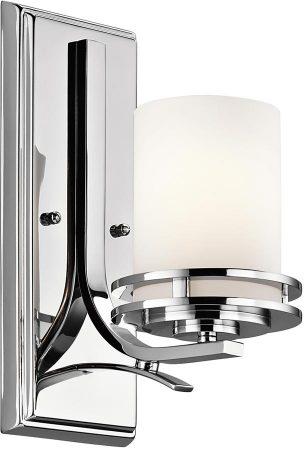Kichler Hendrik Polished Chrome 1 Light Bathroom Wall Light Opal Glass IP44