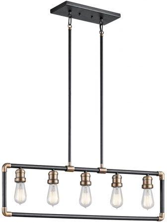 Kichler Imahn 5 Light Linear Chandelier Bar Pendant Black With Brass