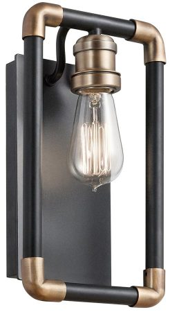 Kichler Imahn 1 Light Wall Light Black With Natural Brass Industrial