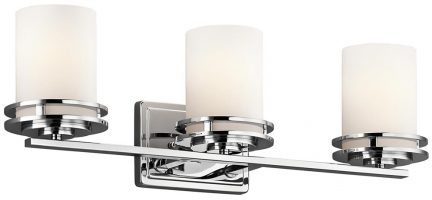 Kichler Hendrik Polished Chrome 3 Light Bathroom Wall Light Opal Glass IP44