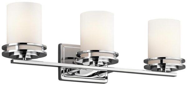 Kichler Hendrik Polished Chrome 3 Light Bathroom Wall Light Opal Glass IP44