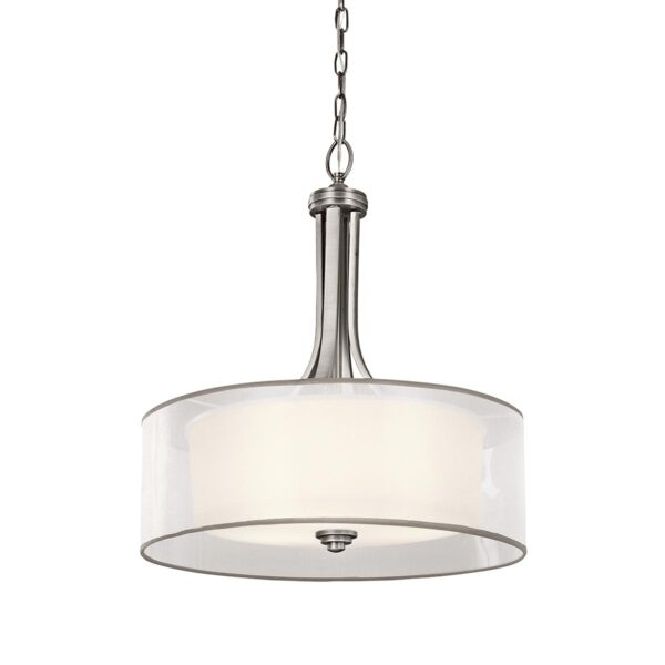 Kichler Lacey Large 4 Light Pendant Antique Pewter Organza Shade