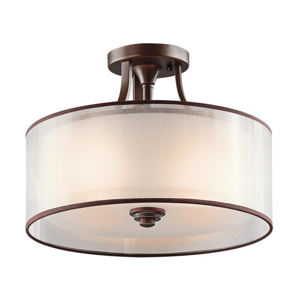Kichler Lacey Small 3 Lamp Semi Flush Low Ceiling Light Mission Bronze