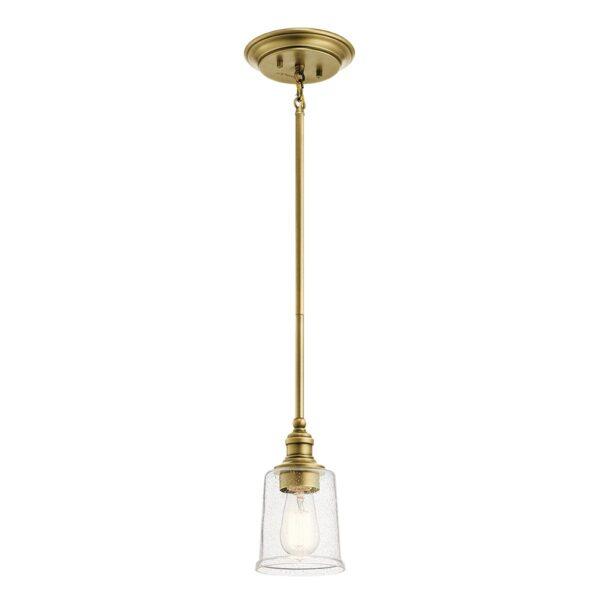 Kichler Waverly Natural Brass 1 Light Mini Pendant Seeded Glass Shade