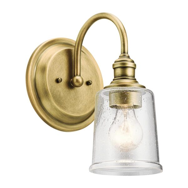 Kichler Waverly Natural Brass Single Wall Light Seeded Glass Shade