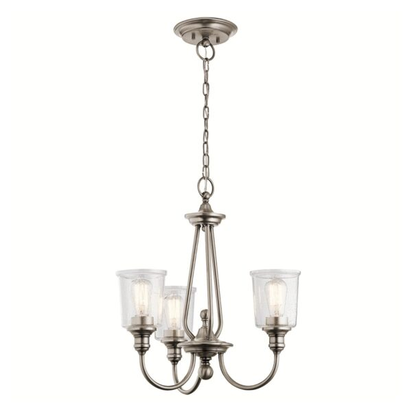 Kichler Waverly Classic Pewter 3 Light Chandelier Seeded Glass Shades