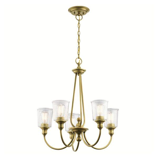 Kichler Waverly Natural Brass 5 Light Chandelier Seeded Glass Shades
