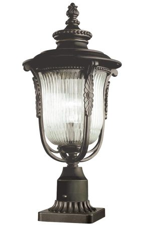 Kichler Luverne 1 Light Outdoor Pedestal Lantern Oil Rubbed Bronze