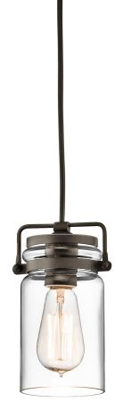 Kichler Brinley 1 Light Mini Pendant Olde Bronze Clear Glass Jar Shade