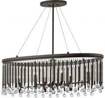 Kichler Piper Oval 6 Light Chandelier Pendant Espresso Glass Rods